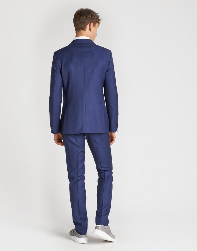 Navy blue wool and canvas structured suit