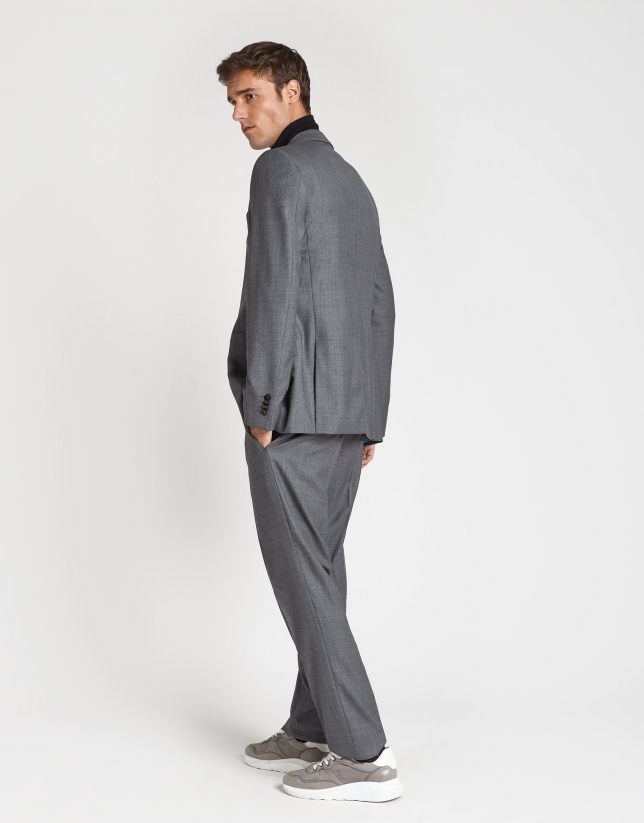 Taupe virgin wool, half-canvas suit