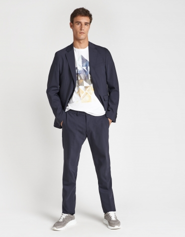 Navy blue, slim fit, suit