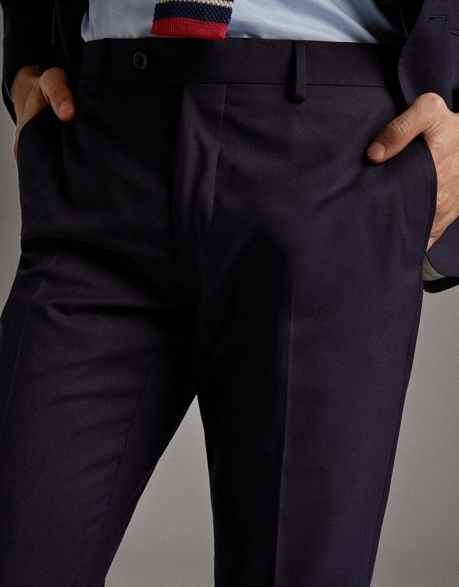 Navy blue wool, two-piece, slim fit suit