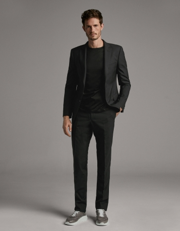 Black wool, two-piece, slim fit suit