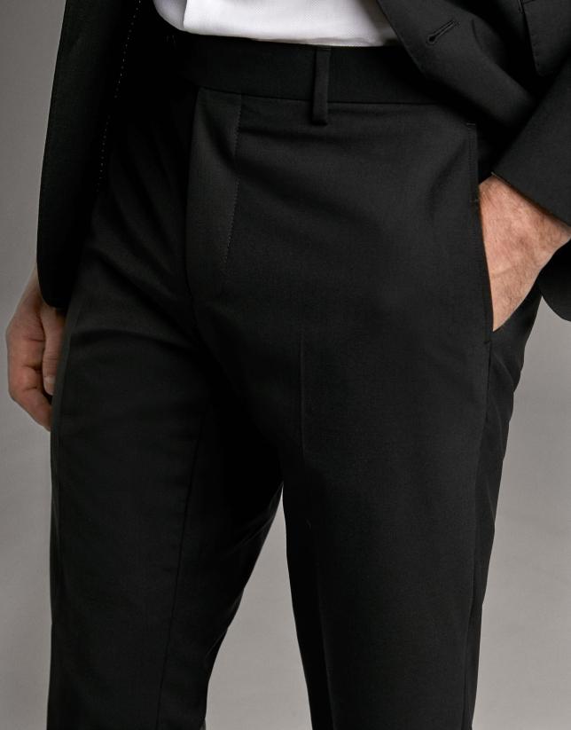 Black wool, two-piece, slim fit suit
