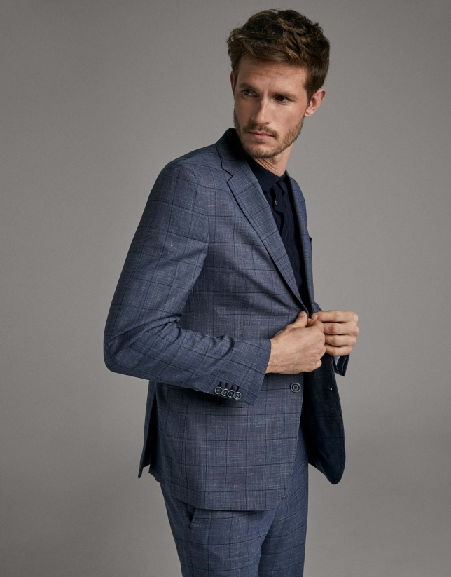 Blue checked, slim fit, suit
