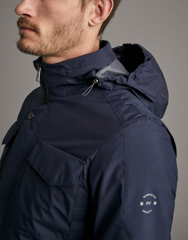 Navy blue tech fabric parka with four pockets