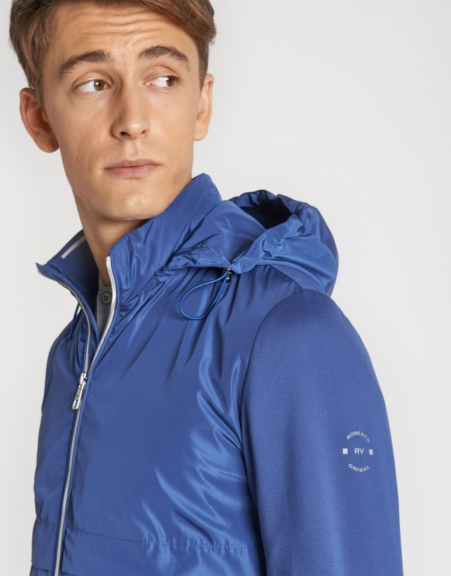 Blue tech fabric windbreaker