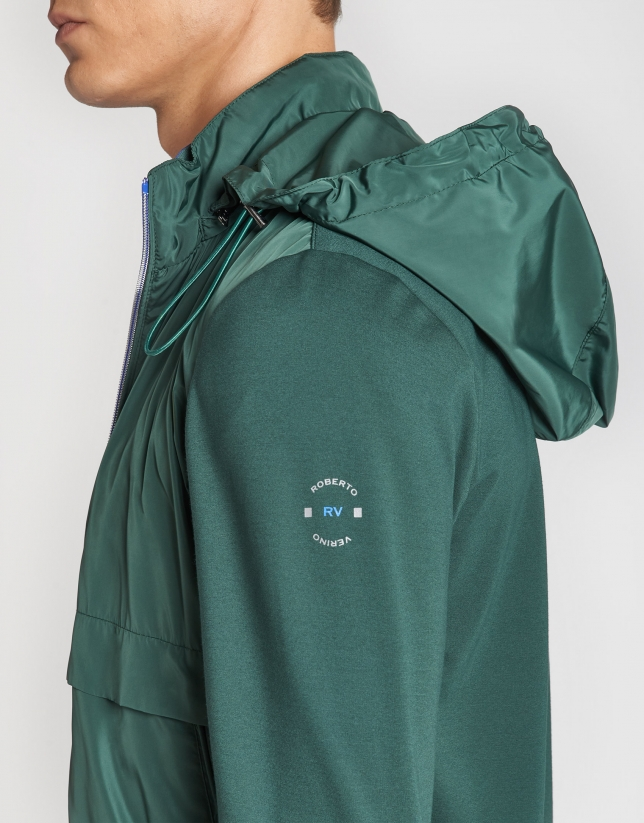 Dark green tech fabric windbreaker