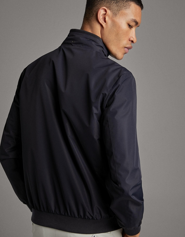 Navy blue/stone, tech fabric, reversible windbreaker