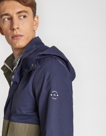 Khaki/navy blue two-tone parka