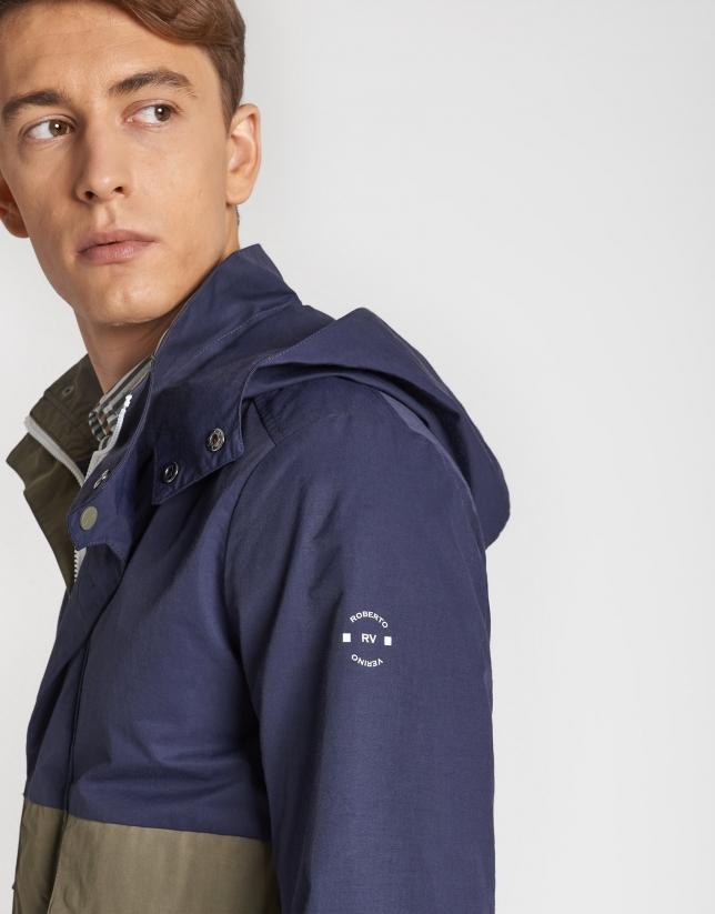 Khaki/navy blue two-tone parka