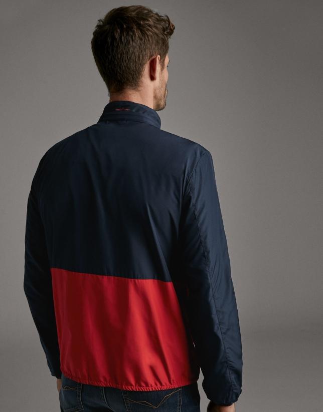 Navy blue/red, two-tone, tech-fabric windbreaker