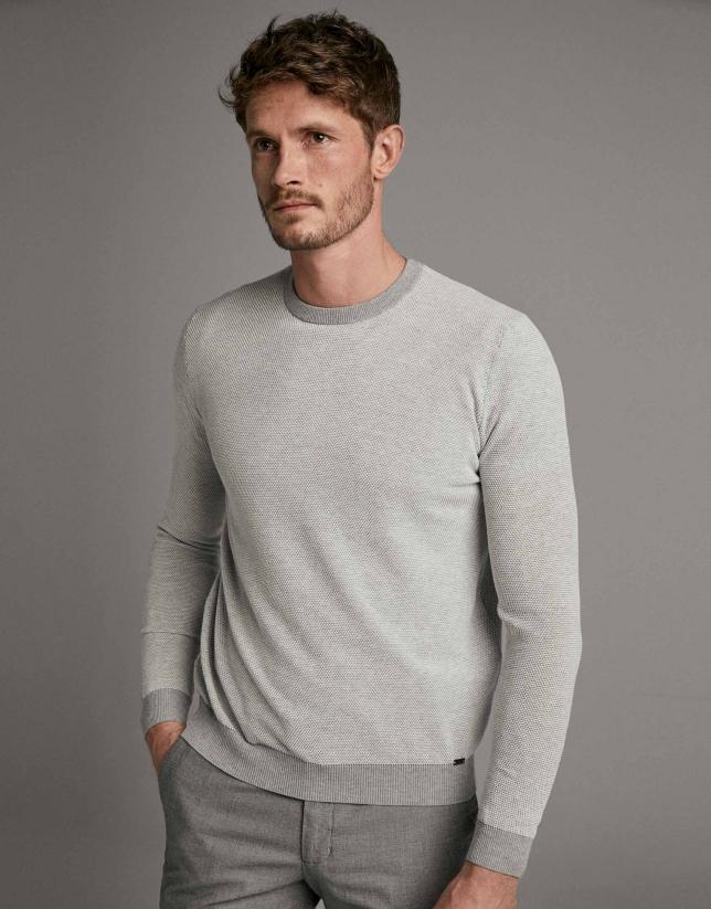 Grey/white two-tone sweater