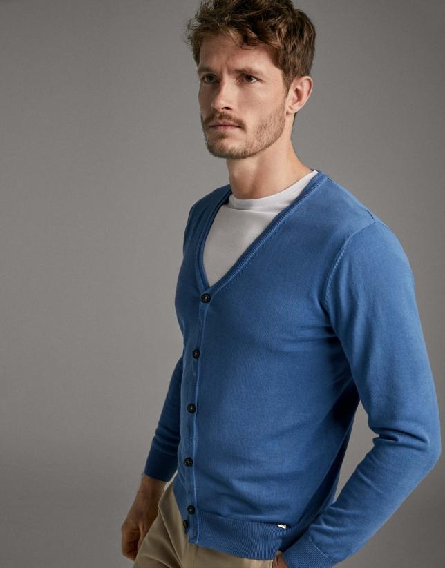 Blue flat knit jacket
