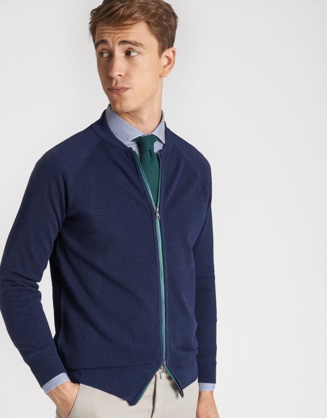 Navy blue structured knit jacket