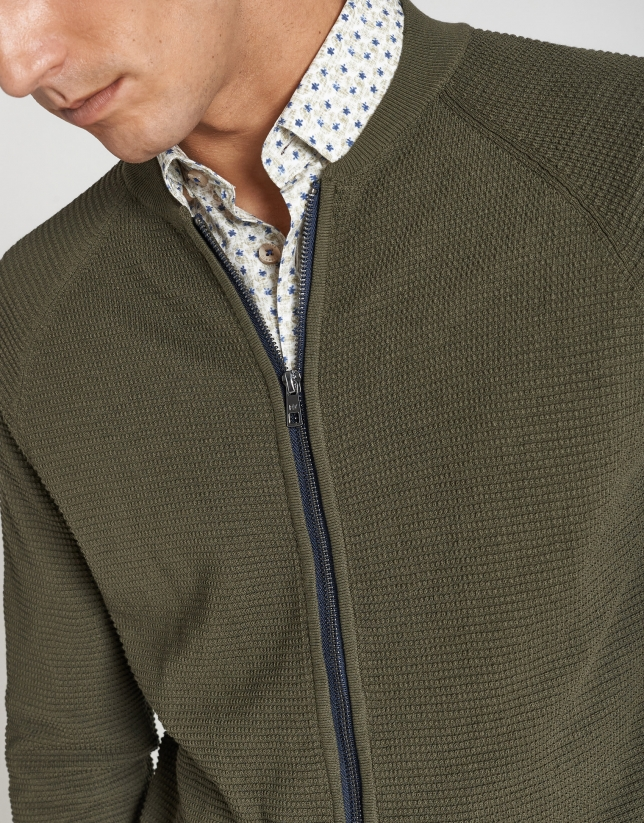Khaki structured knit jacket