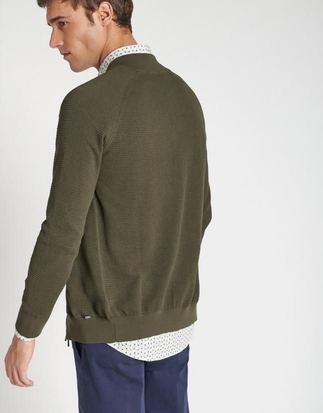 Khaki structured knit jacket