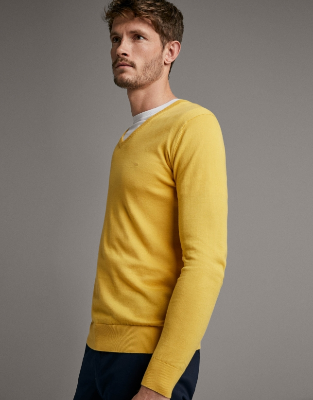Yellow turtleneck sweater