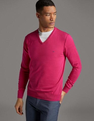 Jersey cuello pico rosa oscuro