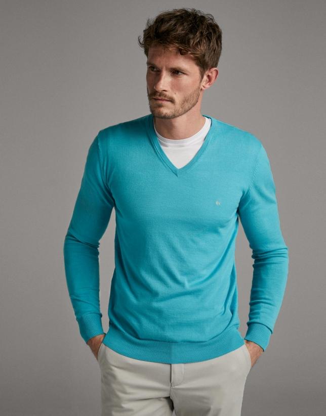 Aquamarine, turtleneck sweater
