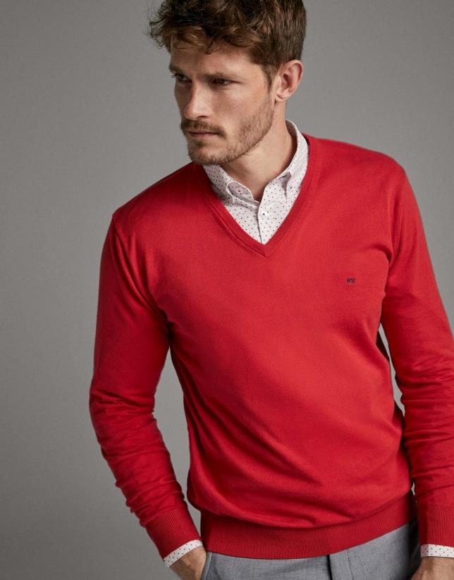 Jersey cuello pico rojo