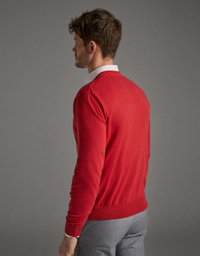 Red turtleneck sweater