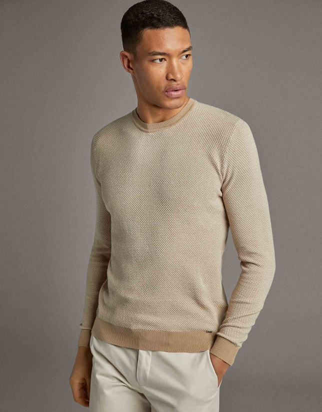 Two-tone natural seed stitch sweater