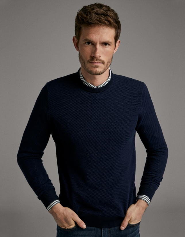 Navy blue seed stitch sweater