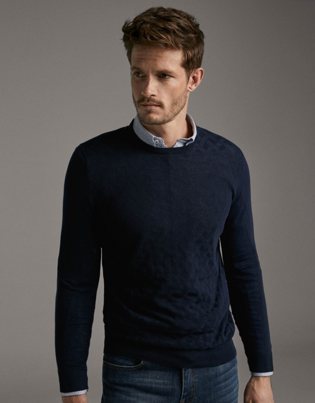 Navy blue high twist cotton sweater