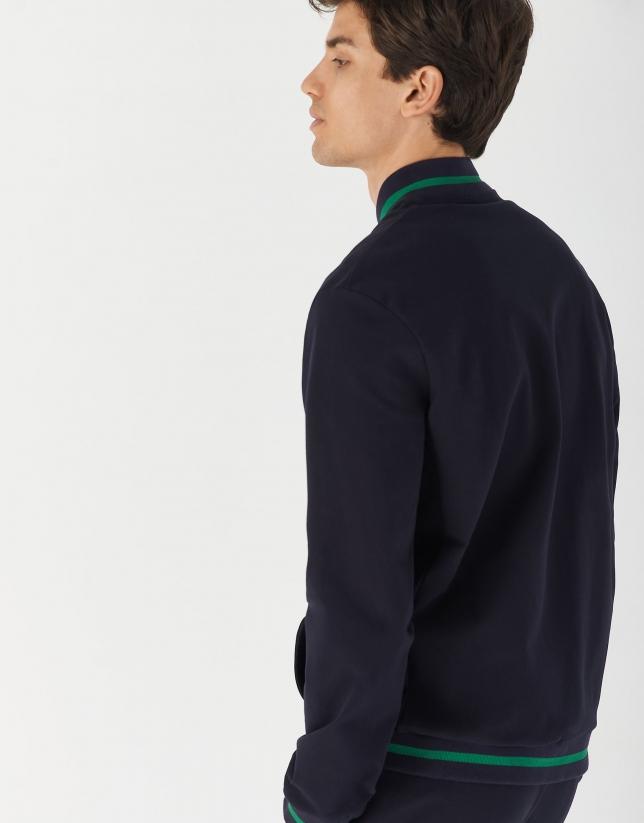 Navy blue bomber-type sweatshirt
