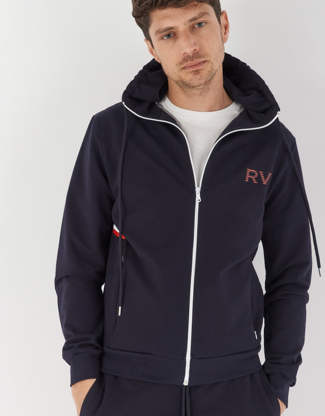 Navy blue sweatshirt with hood
