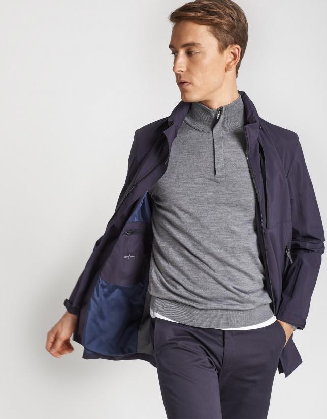 Navy blue tech fabric raincoat