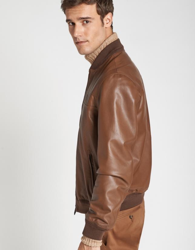Hazelnut leather bomber jacket