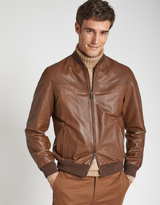Hazelnut leather bomber jacket