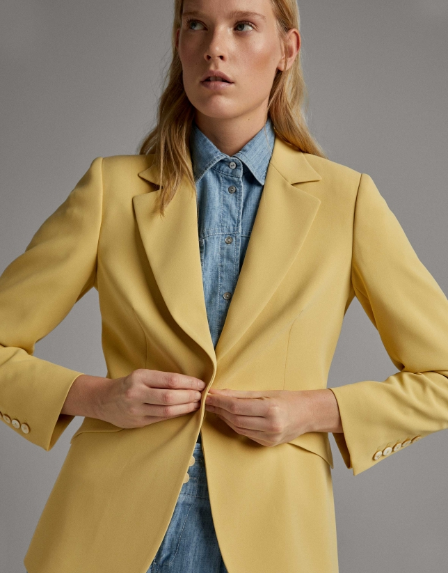 Yellow pink suit jacket with one button
