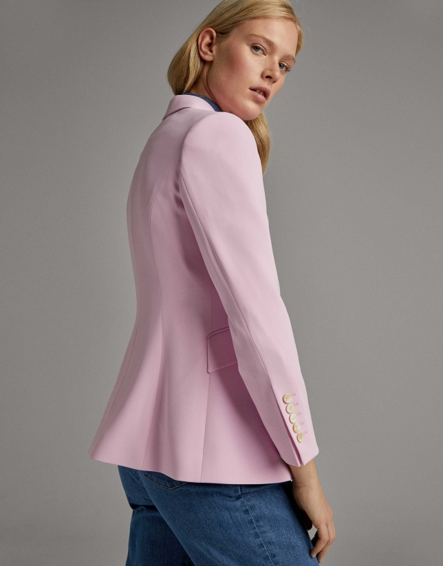 Pastel pink suit jacket with one button