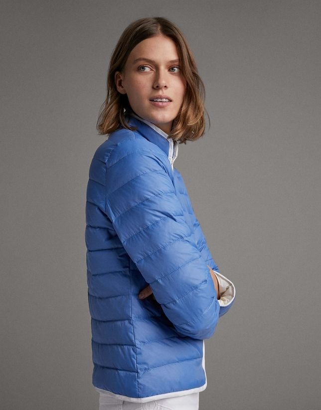 Blue quilted windbreaker with Mao collar