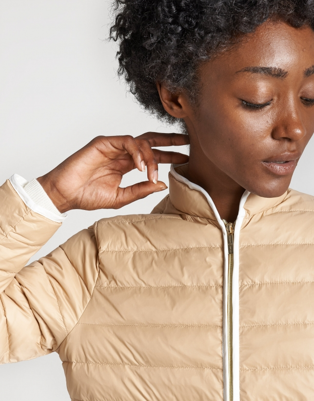 Beige quilted windbreaker with Mao collar