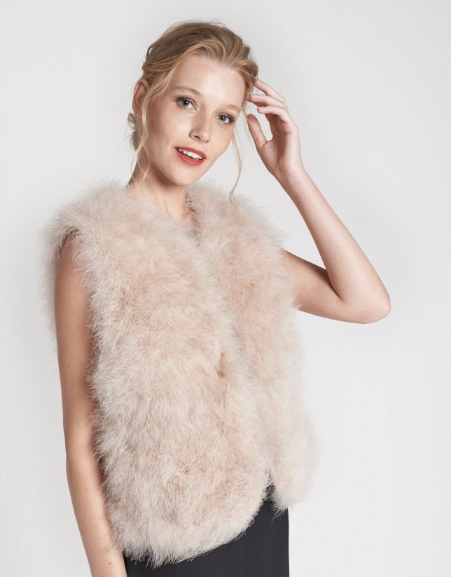 Ivory vest with turkey feathers