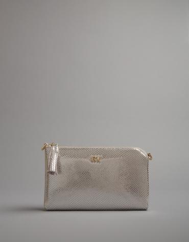 Silvery leather Lisa Nano clutch bag