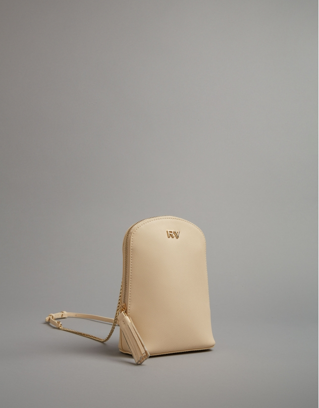 Beige leather Fabiola mini shoulder bag