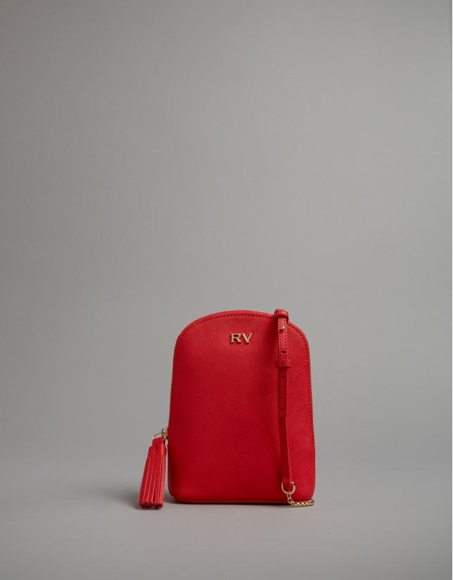 Red leather Fabiola mini shoulder bag