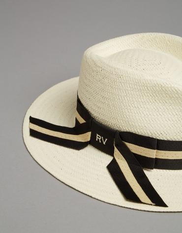 Light beige natural fiber hat