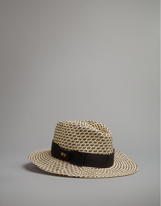 Black and beige hat