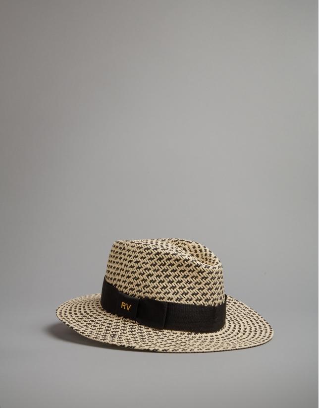 Sombrero bicolor crudo y negro