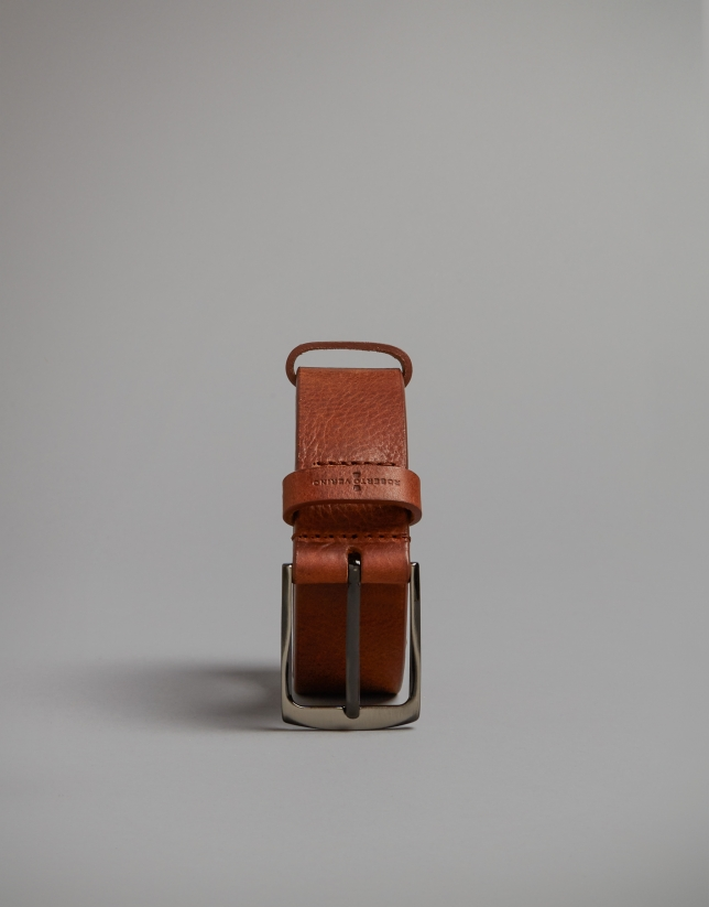 Brown backstitched belt