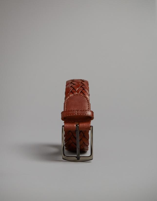 Cinturón trenzado avellana