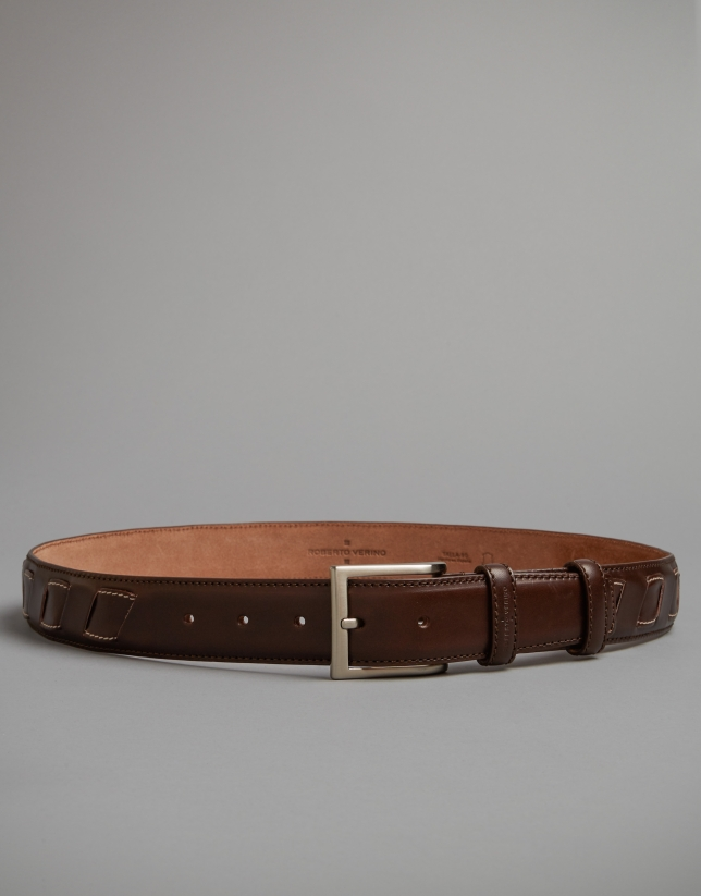 Dark brown elaborated belt