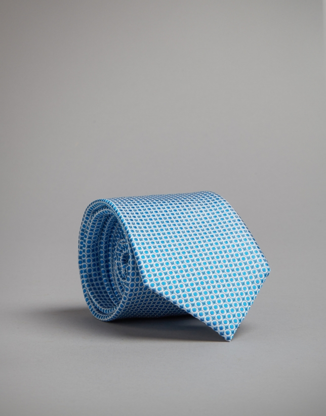 Turquoise silk tie with silver dots