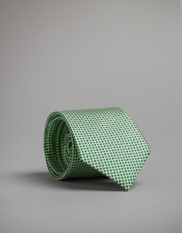 Green silk tie with silver dots