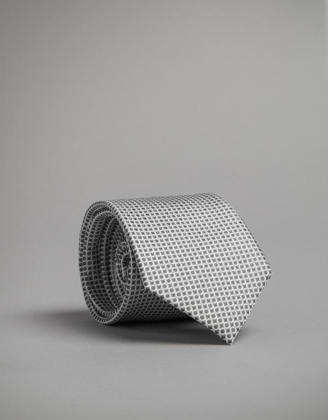 Corbata seda círculos gris