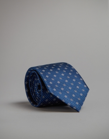 Silk tie with houndstooth and floral design